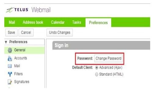 telus change password
