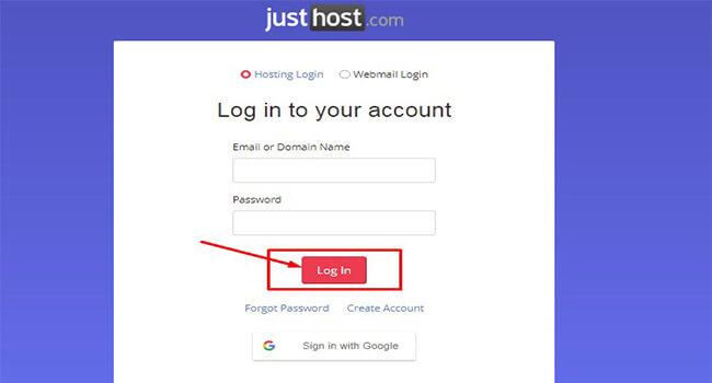 justhost control panel login